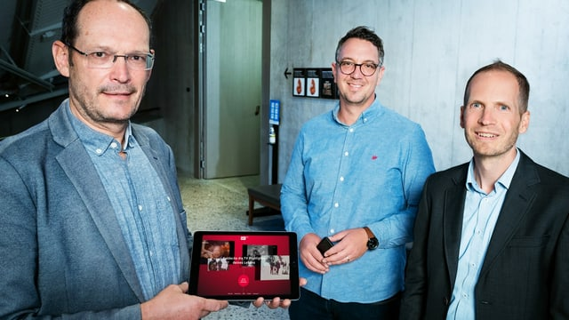 Die Verantwortlichen präsentieren das Projekt im Landesmuseum Zürich