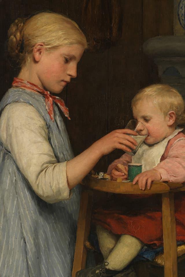 Ein Gemälde von Albert Anker: Ein Mädchen gibt einem kleinen Kind mit einem Glas Milch zu trinken.