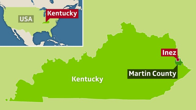 Karte der USA mit Kentucky, dem Martin County und Inez.