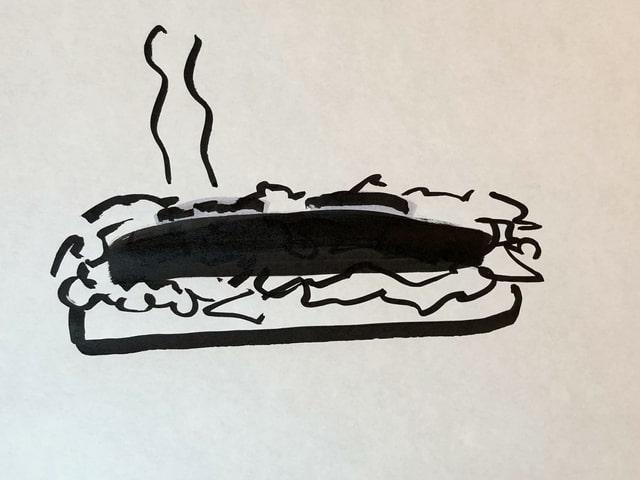 Zeichnung eines Hotdogs auf Japanes -Styie