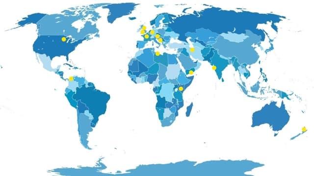 Die gelben Punkte zeigen an, wo die Gesprächspartnerinnen und Gesprächspartner wohnen.