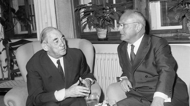 Alvar Aalto mit dem Zürcher Stadtpräsidenten Emil Landolt anno 1954.