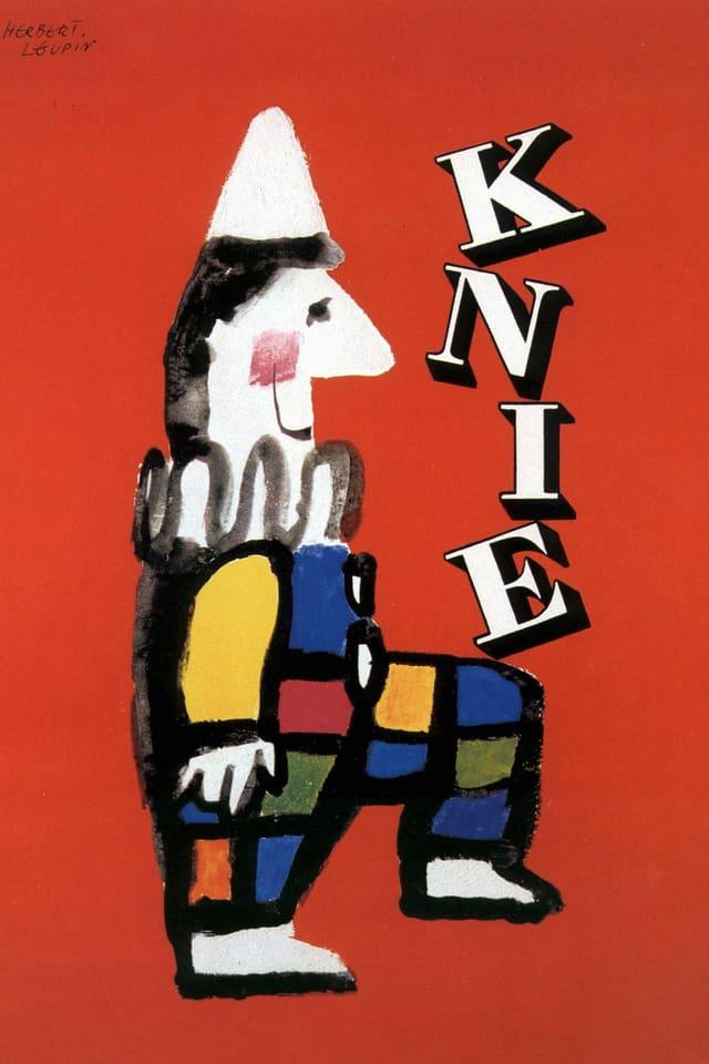 Graphik, die einen Clown zeigt, der die Buchstaben «Knie» auf seinem Knie balanciert.