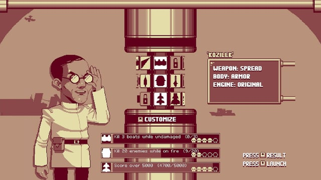 Ein verrückter Wissenschaftler mit Brille und weissem Kittel steht vor einer Art dreifacher Drehscheibe, mit der sich Waffe, Hülle und Antrieb eines Luftrausers wählen lassen.