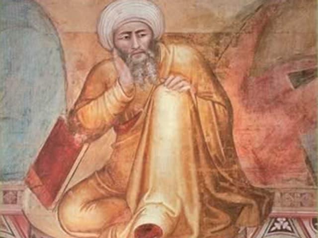 Fresko eines sitzenden Philosophen. Er trägt einen weissen Turban und ein goldgelbes Gewand und stützt seinen Kopf auf den Arm.