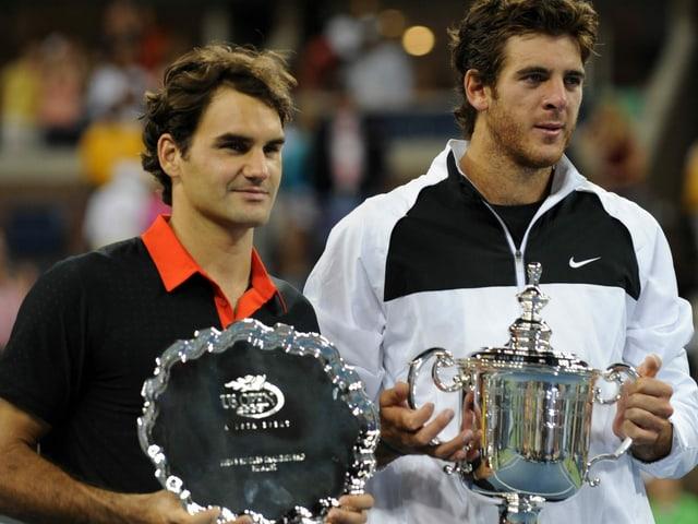 Juan Martin Del Potro bezwingt 2009 im Final der US Open Roger Federer.