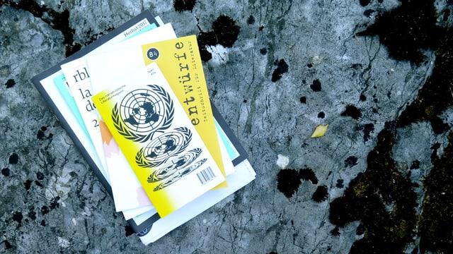 Ein Stapel Literaturzeitschriften auf einem Stein.