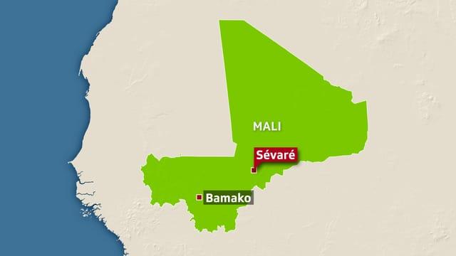 Karte von Mali mit Anschlagsort Sévaré.