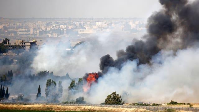 Bäume brennen auf den Golan-Höhen