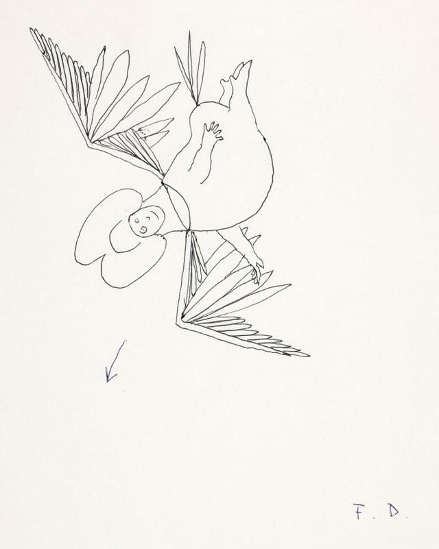 Zeichnung: Ein Dicker Engel stürzt