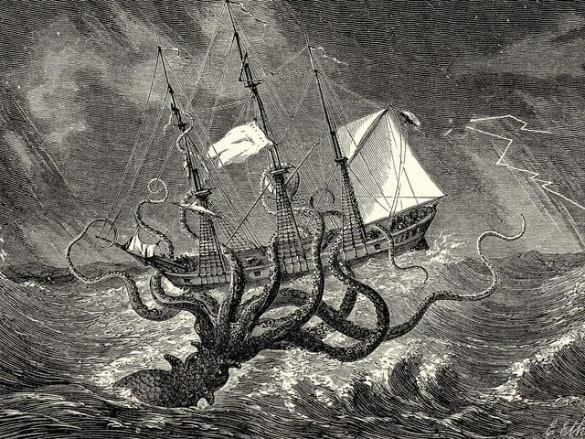 Bild eines Schiffes, das von eienr Riesenkrake angegriffen wird.