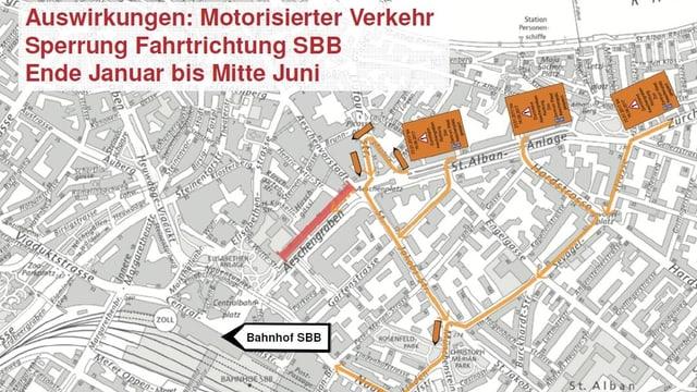 Strassenplan mit eingezeichneten Umleitungen für den motorisierten Verkehr.