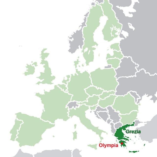 Charta da l'Europa cun la Gracia ed il lieu Olympia.