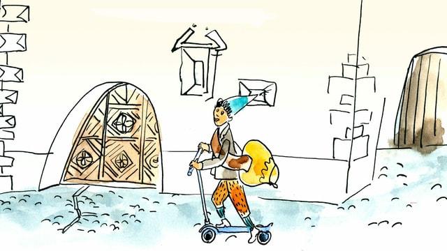 Schellen-Ursli fährt mit einem Scooter durch das Dorf.