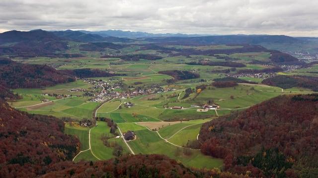 Luftaufnahme der Region Bözberg.