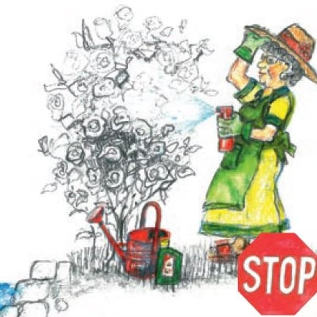 """Zeichnung: Frau besprüht Strauch neben einem Bach, daneben heisst es """"Stop"""""""