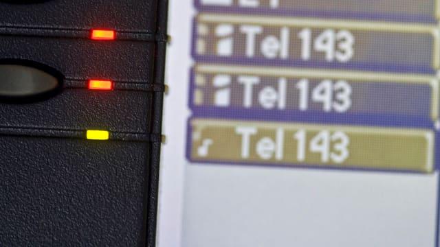Telefondisplay der Nummer 143.