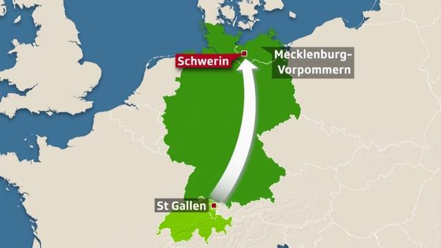 Europakarte, darauf ist St.Gallen und Schwerin in Mecklenburg-Vorpommern eingezeichnet.