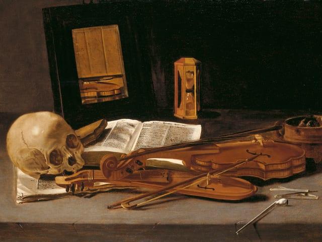 «Vanitas-Stillleen mit zwei Violinen und Totenkopf» von Leidener Meister