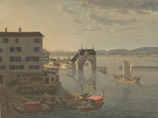 Zeichnung von Zürich um 1810.