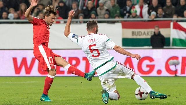 Valentin Stocker sajetta il 3:2 cunter l'Ungaria.