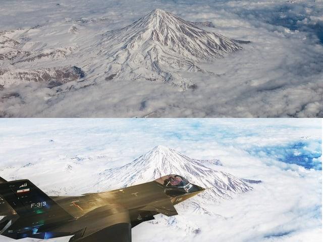 Kampfflieger vor Berg