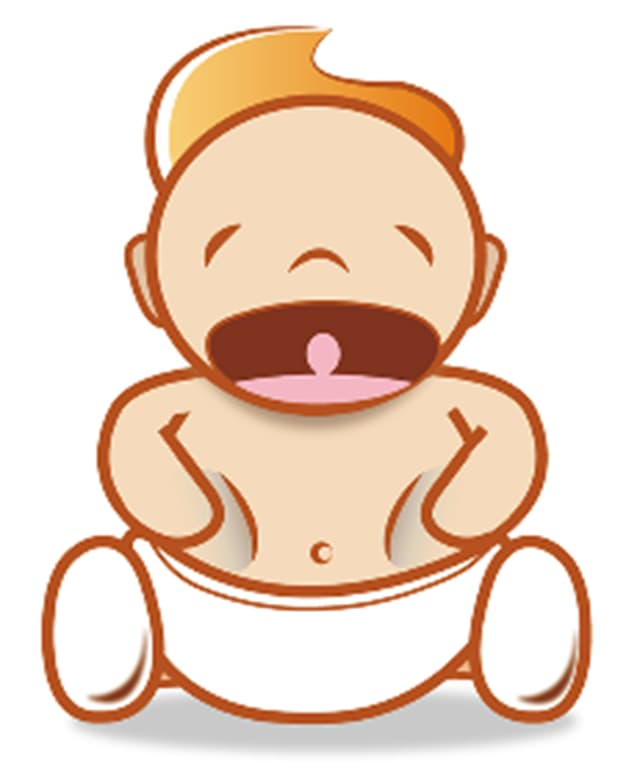 Piktogramm eines schreienden Babys mit Hunger.