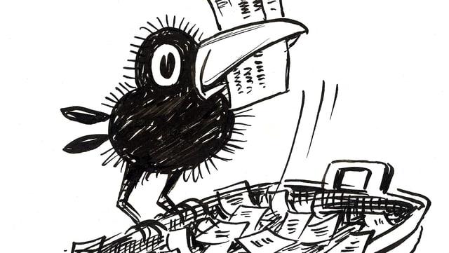 Ein gezeichneter Rabe trägt einen Zettel im Schnabel.