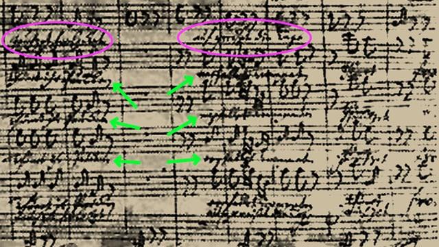Partiturseite aus dem Weihnachtsoratorium mit J.S. Bachs Text-Korrekturen