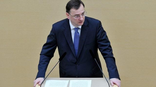 Nečas am Rednerpult des Bayerischen Landtags.