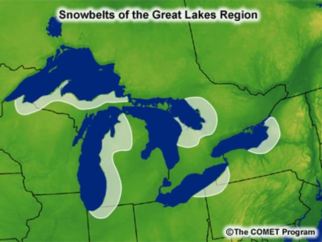 Karten mit den Grossen Seen. Markiert die vom Lake-effect snow am häufigsten betroffenen Regionen.