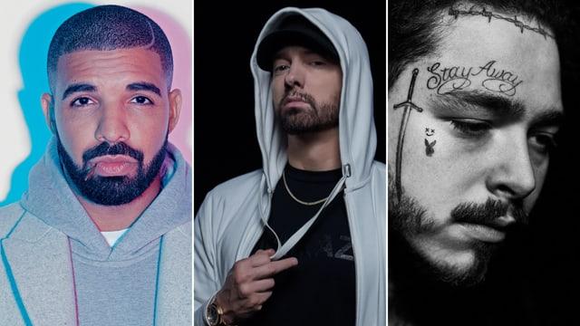Drake, Eminem und Post Malone.