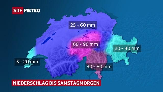 Karte der Schweiz, farbig eingezeichnet sind Flächen mit den erwarteten Regenmengen.