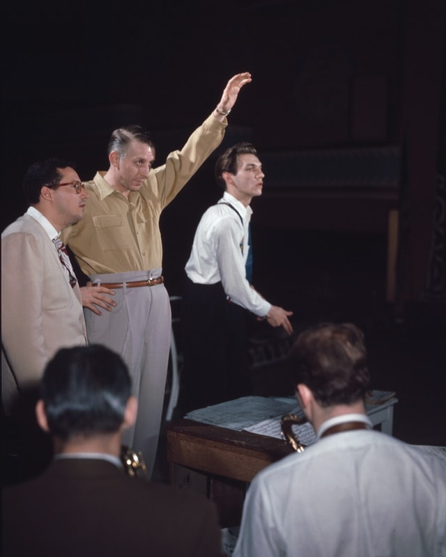 Komponist Pete Rugolo, Stan Kenton und Bob Graettinger.