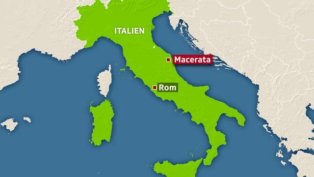 Karte mit dem Stiefel Italiens, darauf markiert Macerata und Rom.