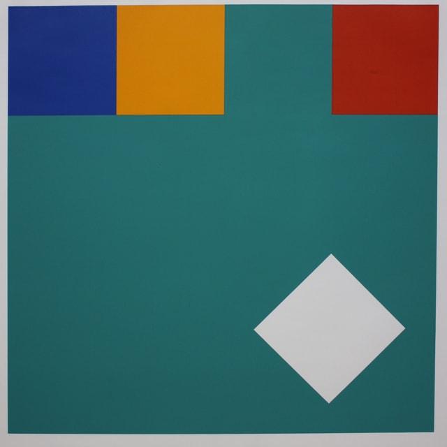 Bild mit Quadraten in einer Reihe, ein Quadrat tanzt aus der Reihe