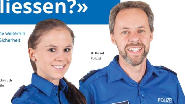 Porträt einer Polizistin und eines Polizisten in blauer Uniform.