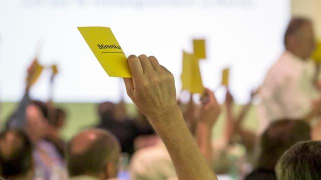 Durant la radunanza da delegads da la partida burgaisdemocrata - plirs delegads tegnan si ina charta melna