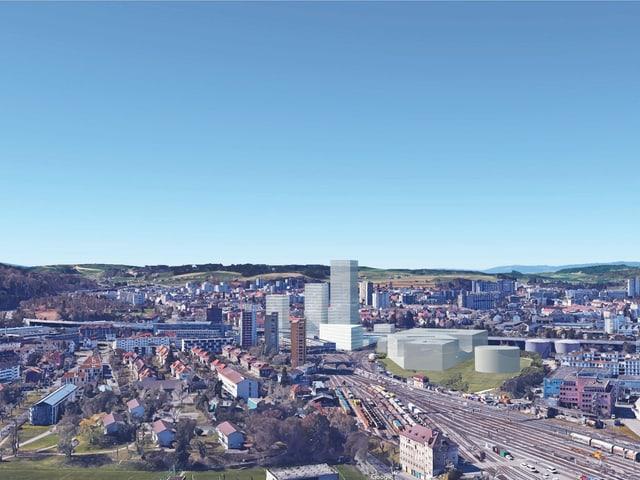 Visualisierung: So könnte das neue Quartier zwischen Europaplatz und Weyermannshaus aussehen. Drei Hochhäuser neben den Geleisen.