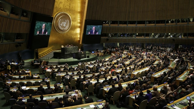 Il secretari general, Ban Ki Moon discurra a la radunanza generala da l'ONU.