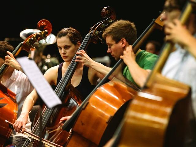 Junge Frauen und Männer am Musizieren.