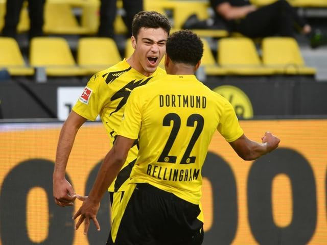 Giovanni Reyna und Jude Bellingham sorgen in der 35. Minute für die BVB-Führung.
