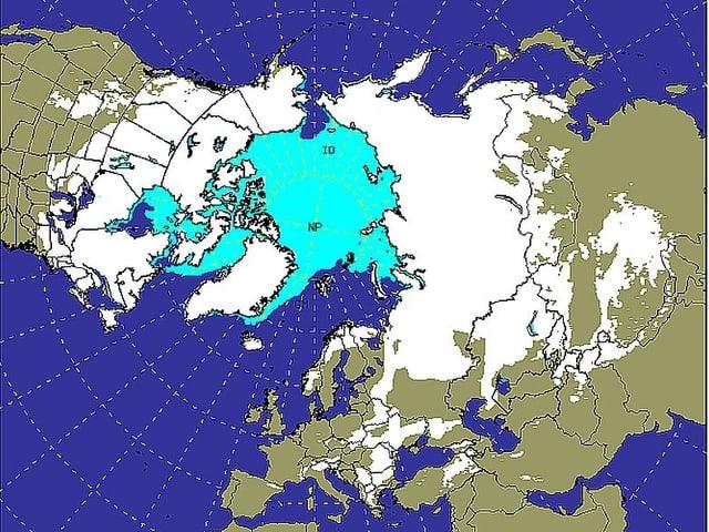Blaue und weisse Flächen zeigen auf den Kontinenten die aktuell mit Eis und Schnee bedeckten Areale.