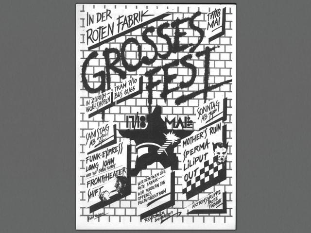 Flugblatt von Bewegten um Markus Kenner, damit luden sie zu einem Protestfest in der Roten Fabrik