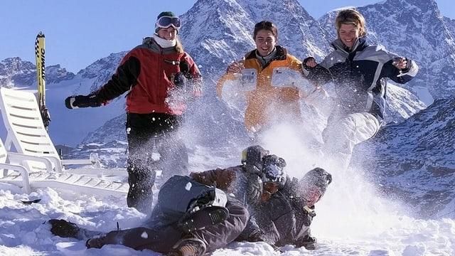 Schnee und Leute