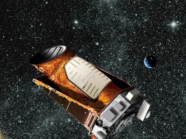 Ein zylinderförmiges Objekt das im Weltraum schwebt.