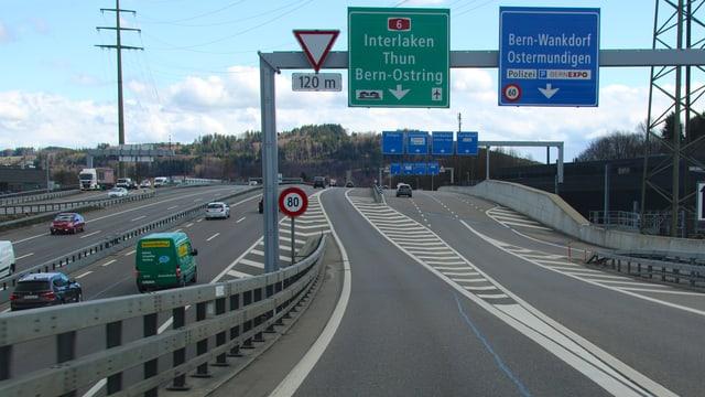 Blick auf die Autobahn.