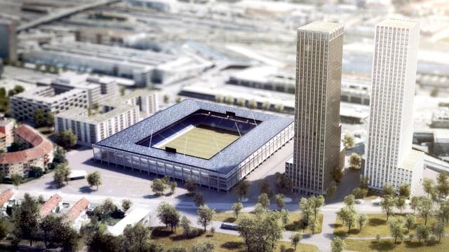 Ein Stadion, zwei Wohnhochhäusern und eine Genossenschaftssiedlung.