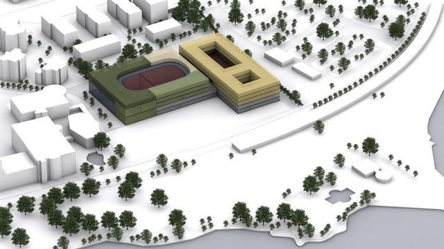 Computergrafik zur Salle Modulable im Luzern.