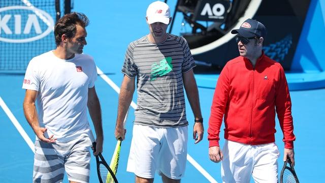 Roger Federer und seine Coaches Ivan Ljubicic und Severin Lüthi.